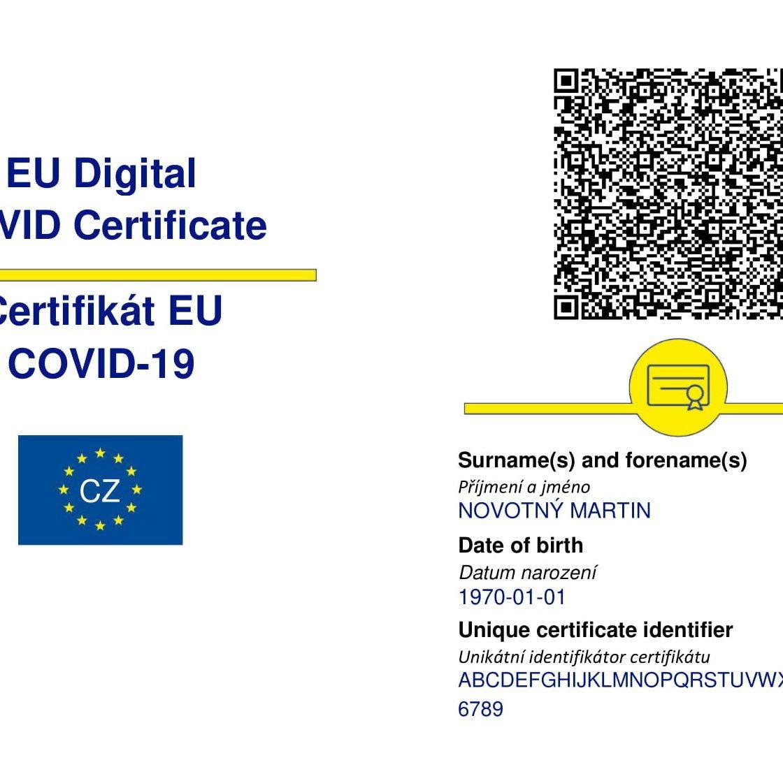 Vzor očkovacího certifikátu COVID-19